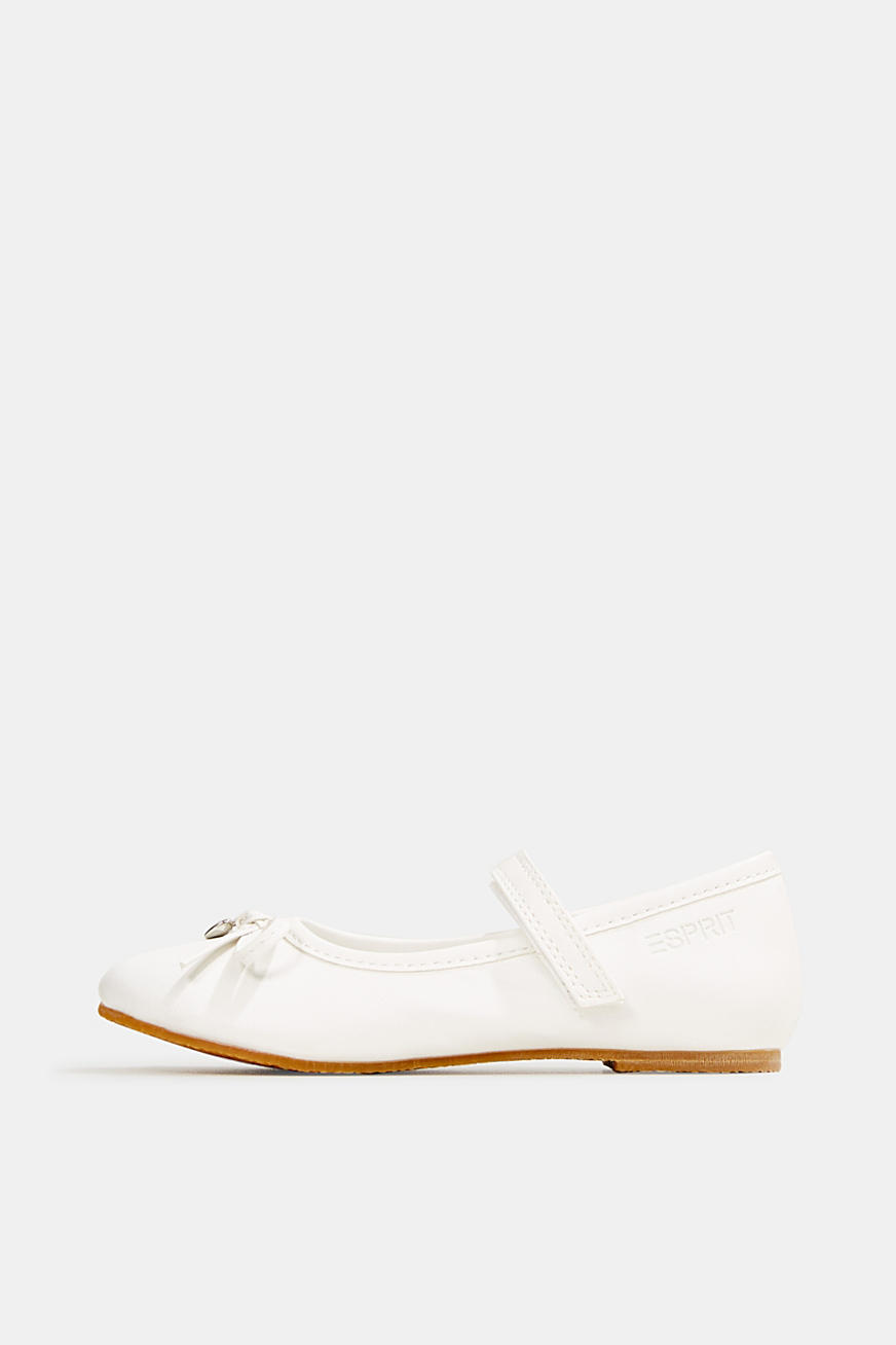 Ballerinas with Velcro straps, in faux leather