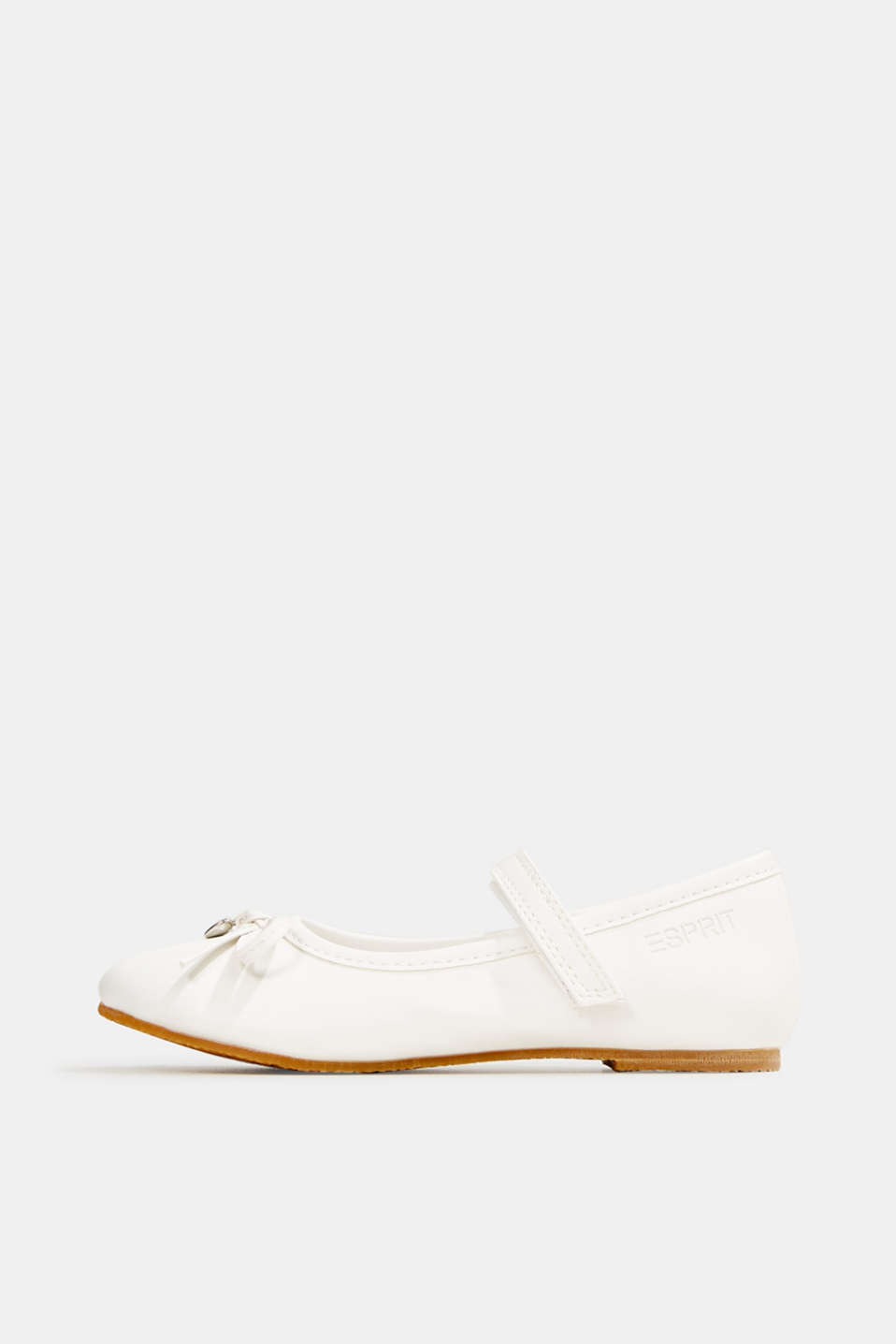 Ballerinas with Velcro straps, in faux leather, WHITE, detail image number 0