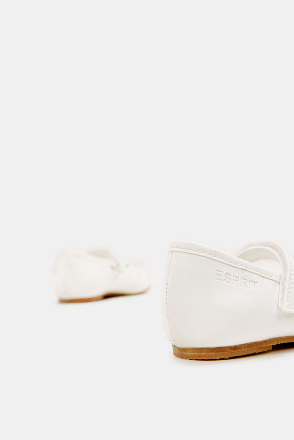 Ballerinas with Velcro straps, in faux leather, WHITE, detail image number 4