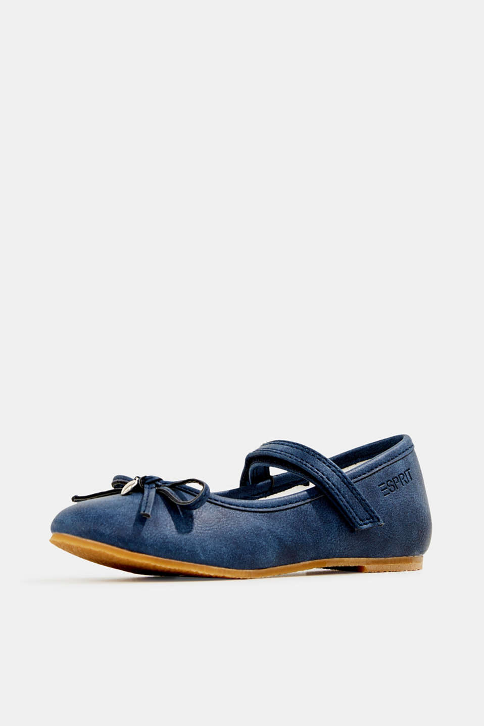 Ballerinas with Velcro straps, in faux leather, NAVY, detail image number 2