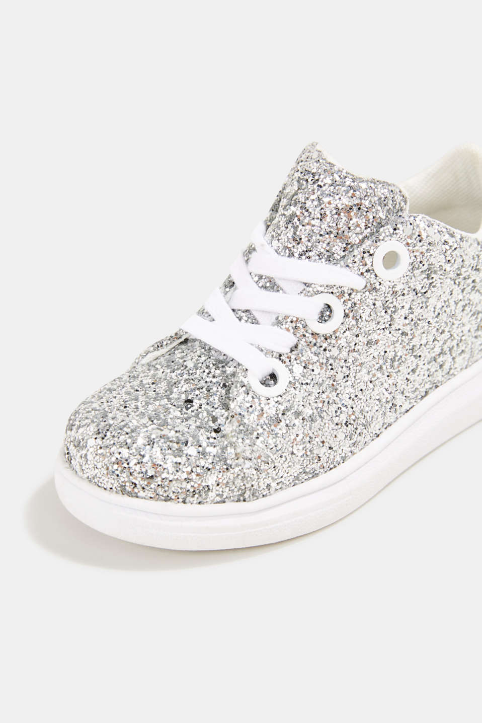 Glitter trainers, SILVER, detail image number 4