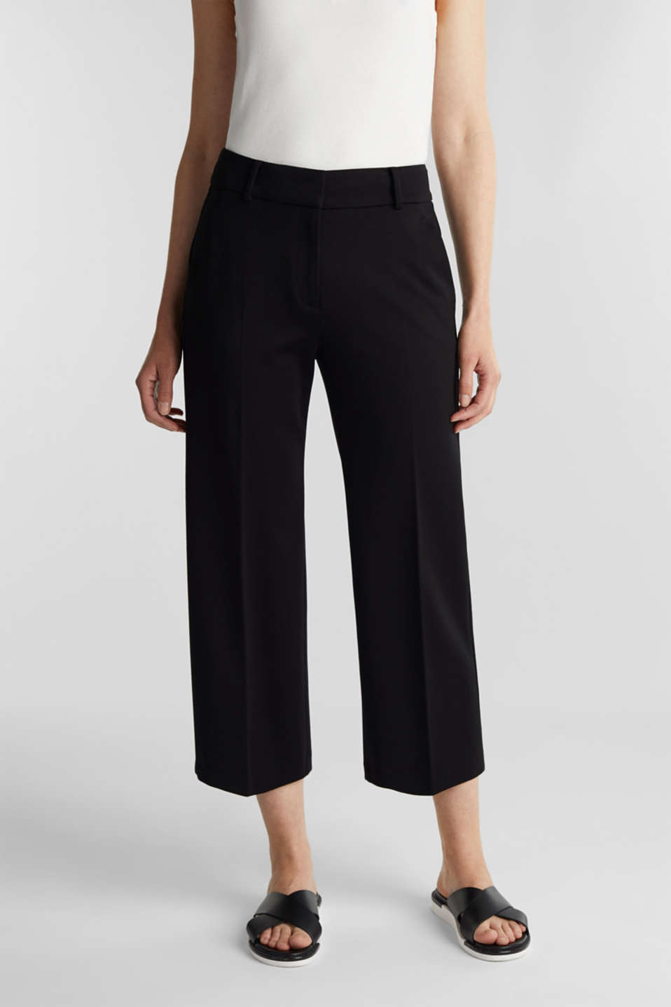 Stretch jersey culottes, BLACK, detail image number 0