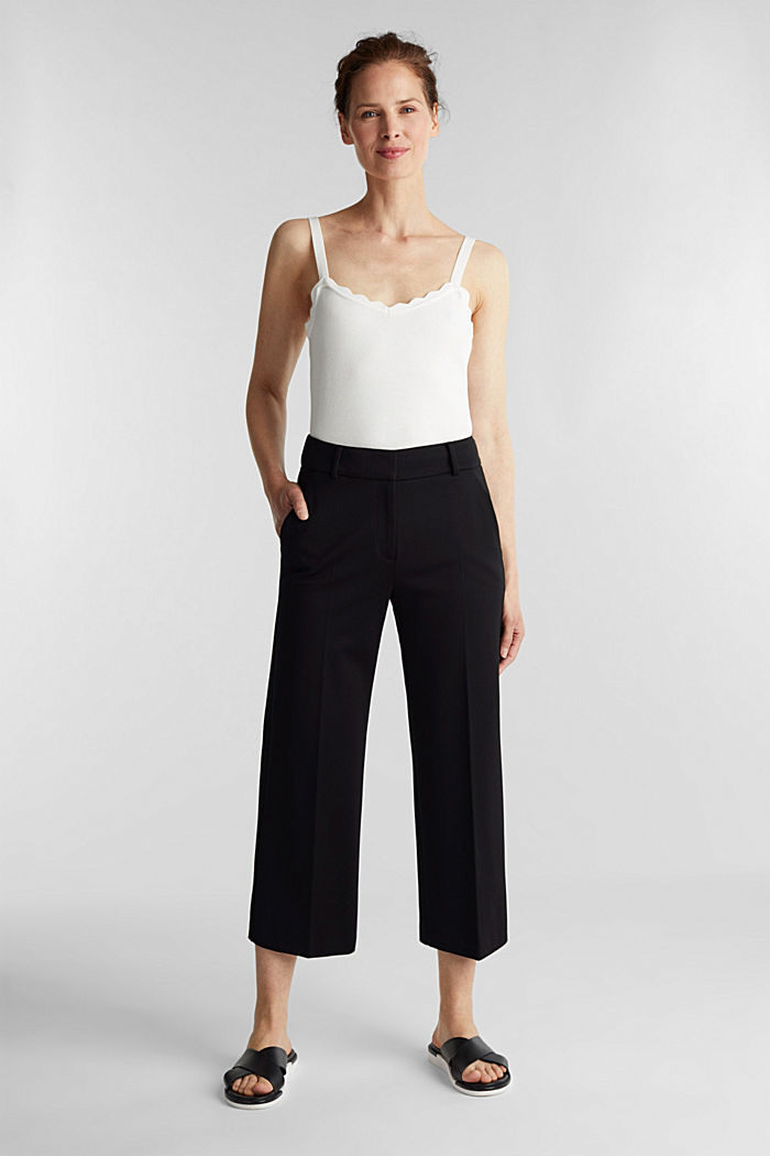 Stretch jersey culottes, BLACK, detail image number 1