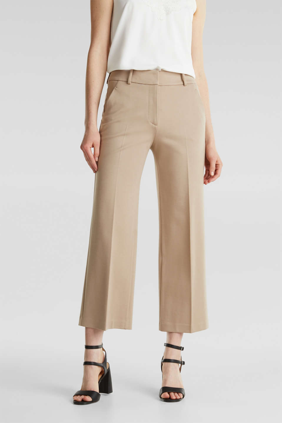 Stretch jersey culottes, BEIGE, detail image number 0