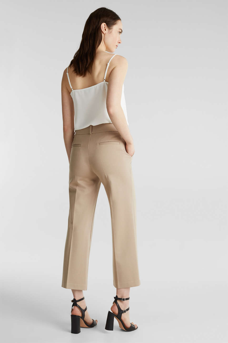 Stretch jersey culottes, BEIGE, detail image number 3