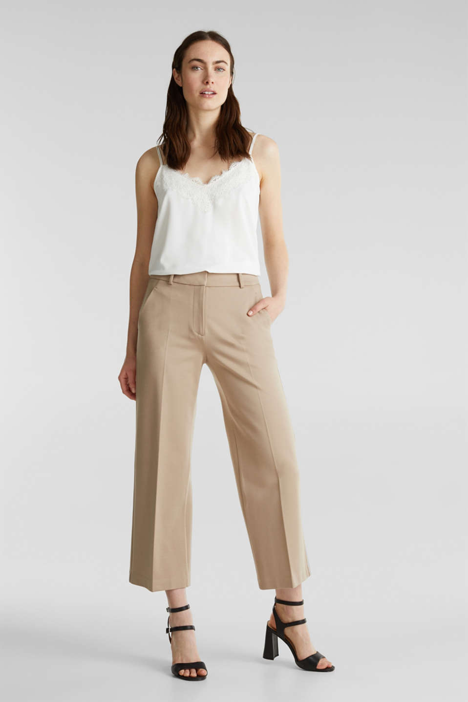 Stretch jersey culottes, BEIGE, detail image number 1
