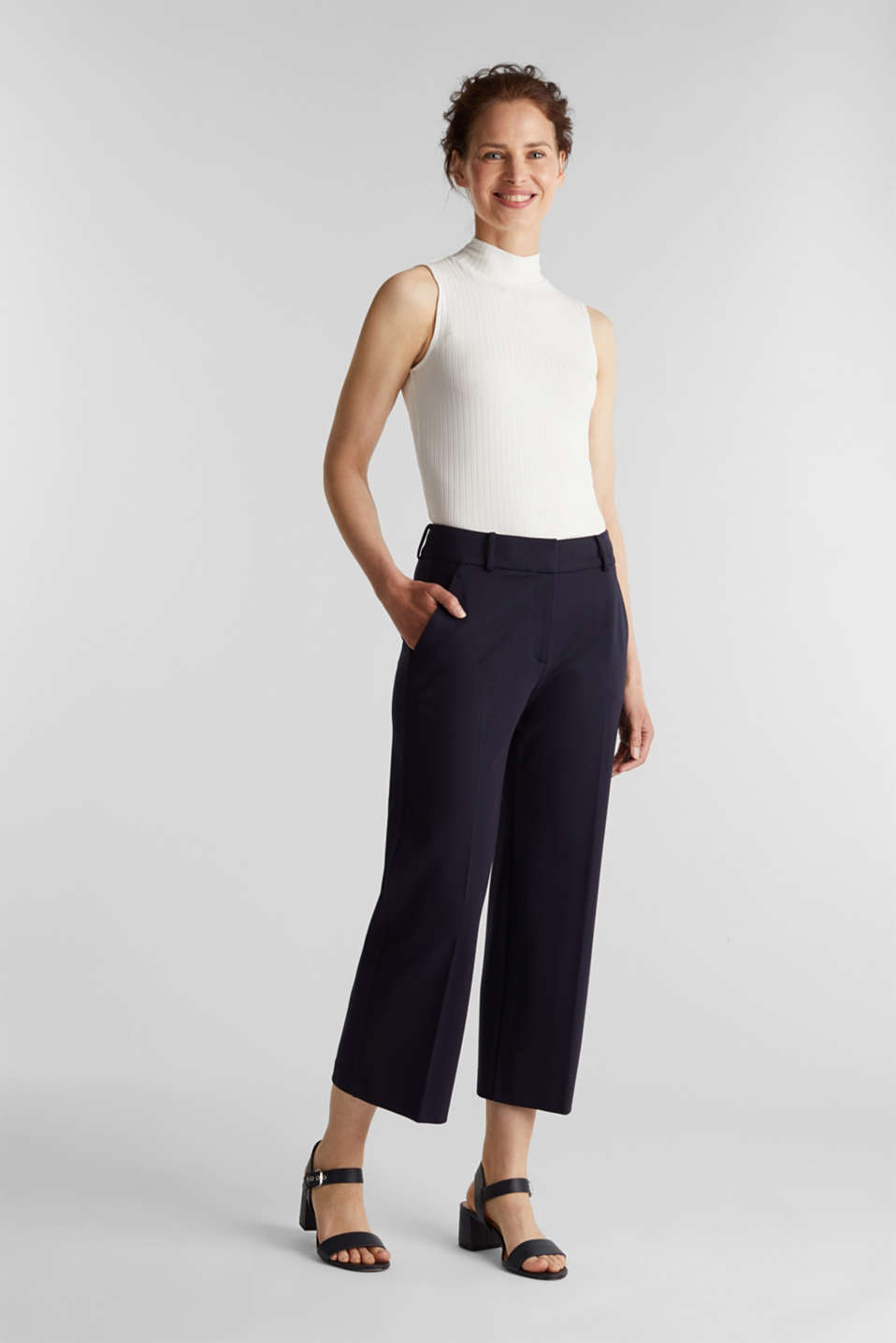 Stretch jersey culottes, NAVY, detail image number 0