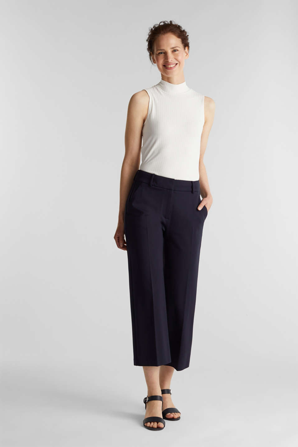 Stretch jersey culottes, NAVY, detail image number 1