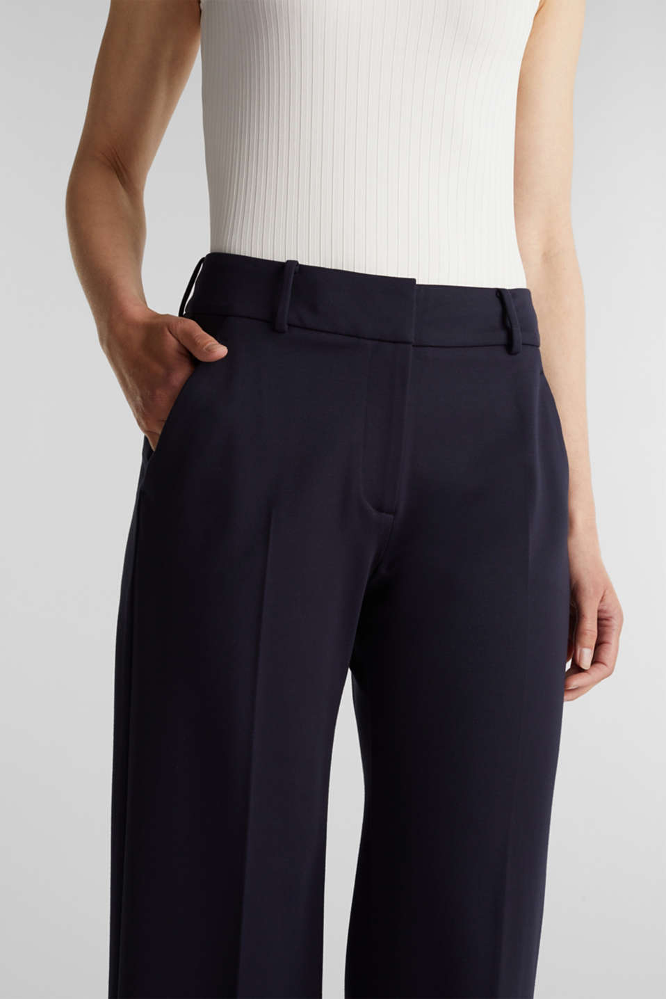 Stretch jersey culottes, NAVY, detail image number 2