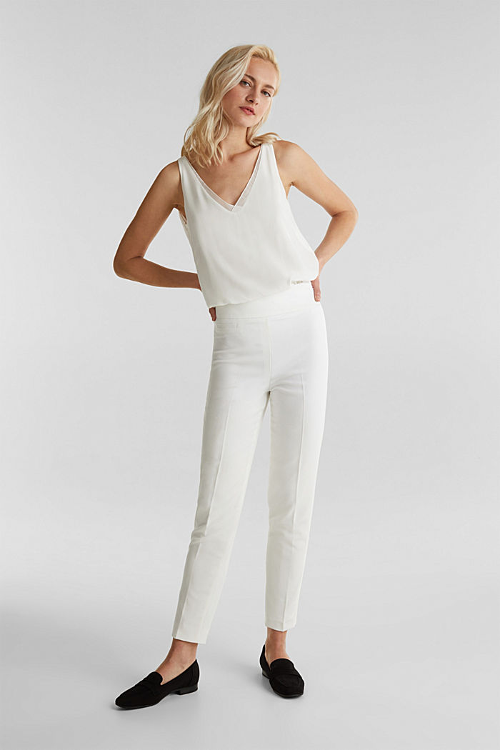 WEDDING mix + match crêpe trousers, WHITE, detail image number 0