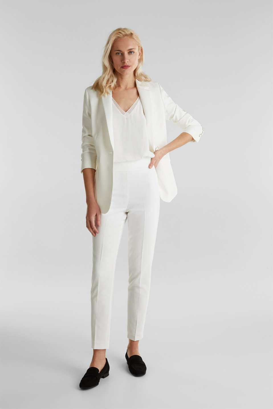 WEDDING mix + match crêpe trousers, WHITE, detail image number 1
