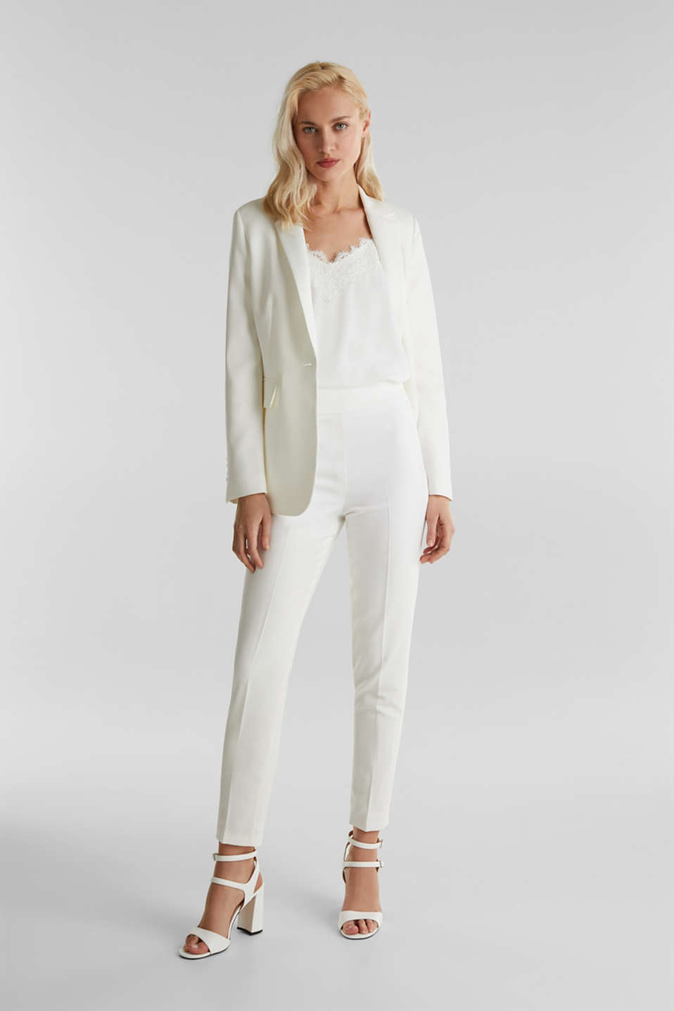 WEDDING mix + match crêpe trousers, WHITE, detail image number 7