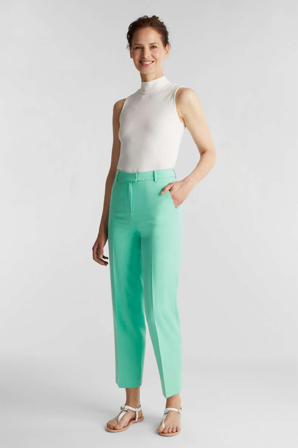 SHIMMER mix + match stretch trousers, LIGHT GREEN, detail image number 1