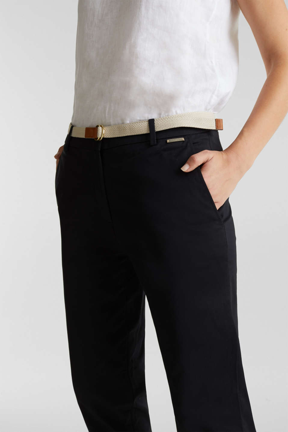 Business chinos with a belt, BLACK, detail image number 2