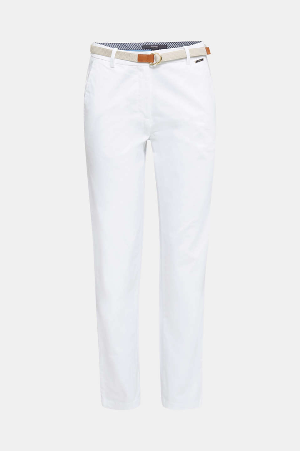 Business chinos with a belt, WHITE, detail image number 7