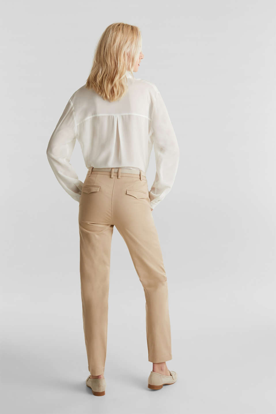 Business chinos with a belt, BEIGE, detail image number 3
