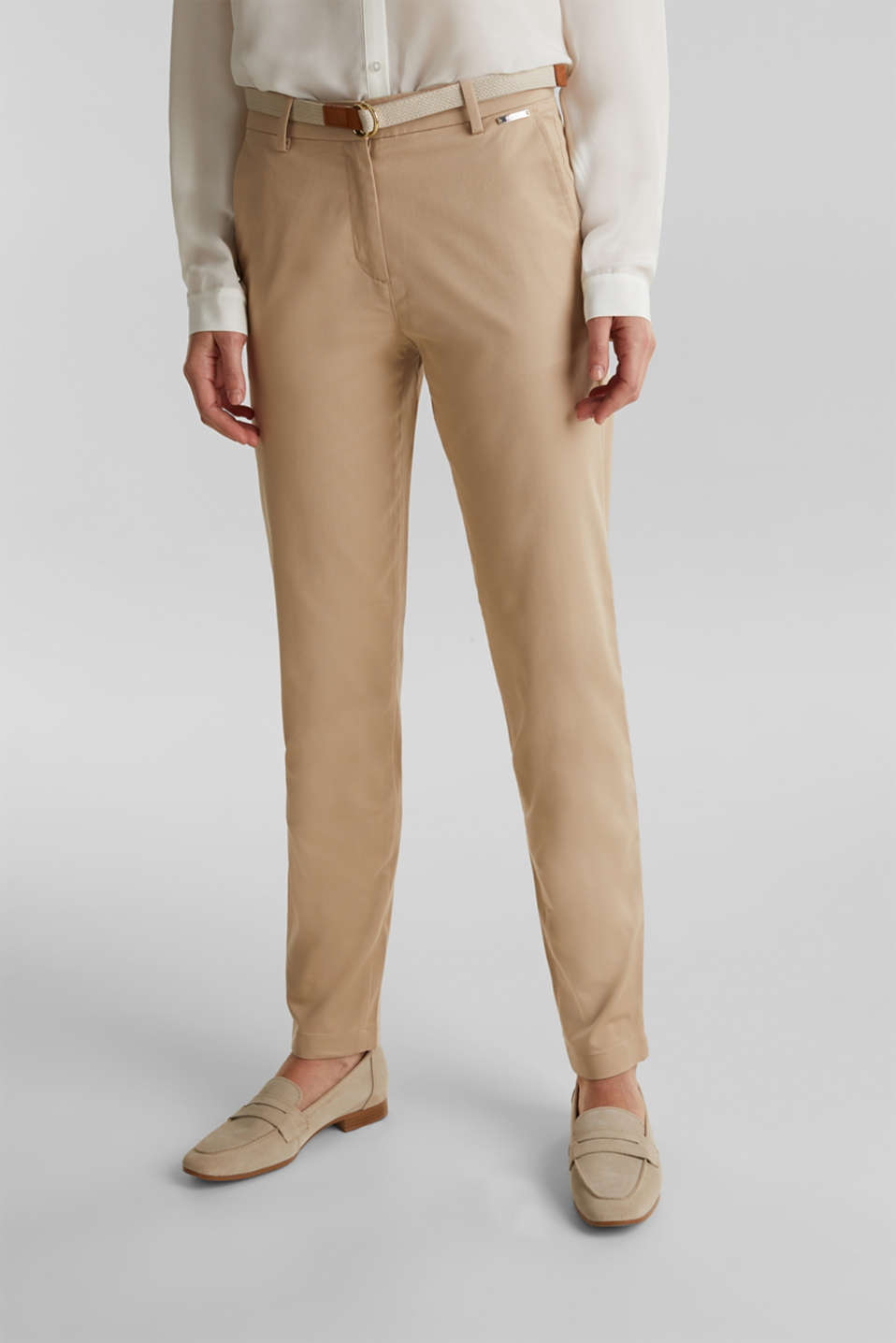 Business chinos with a belt, BEIGE, detail image number 6