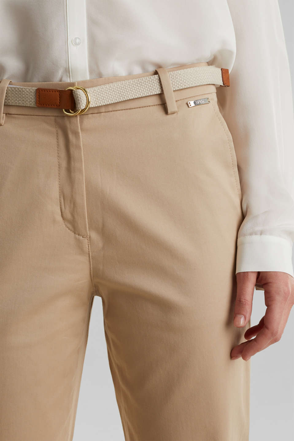 Business chinos with a belt, BEIGE, detail image number 2