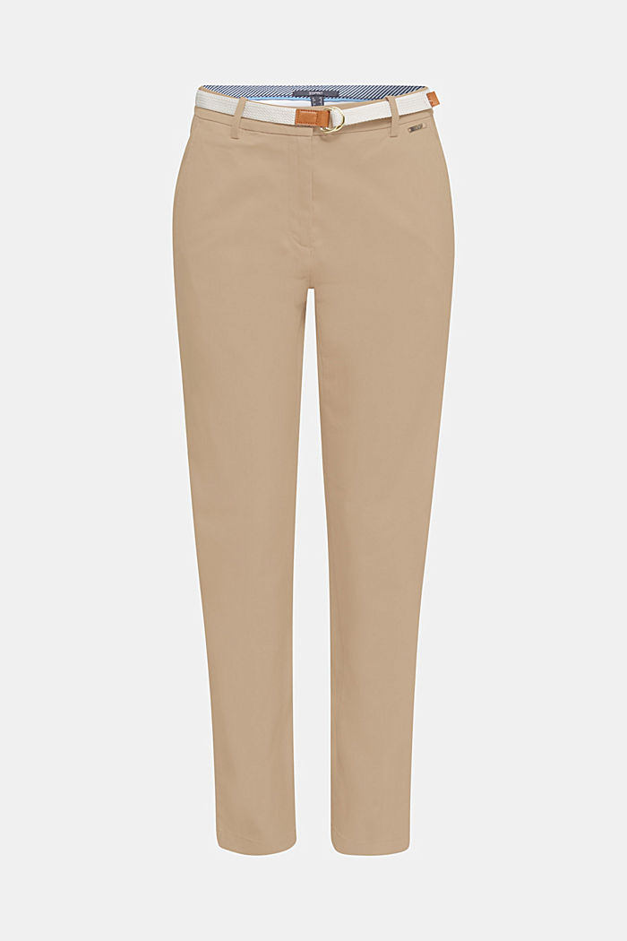 Business chinos with a belt, BEIGE, detail image number 0