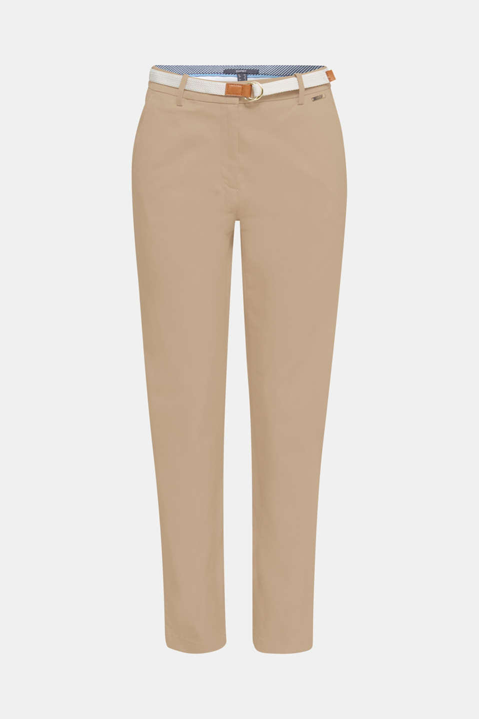 Business chinos with a belt, BEIGE, detail image number 7