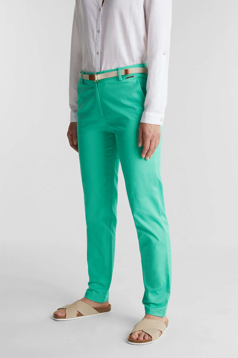 Esprit - Business chinos with a belt