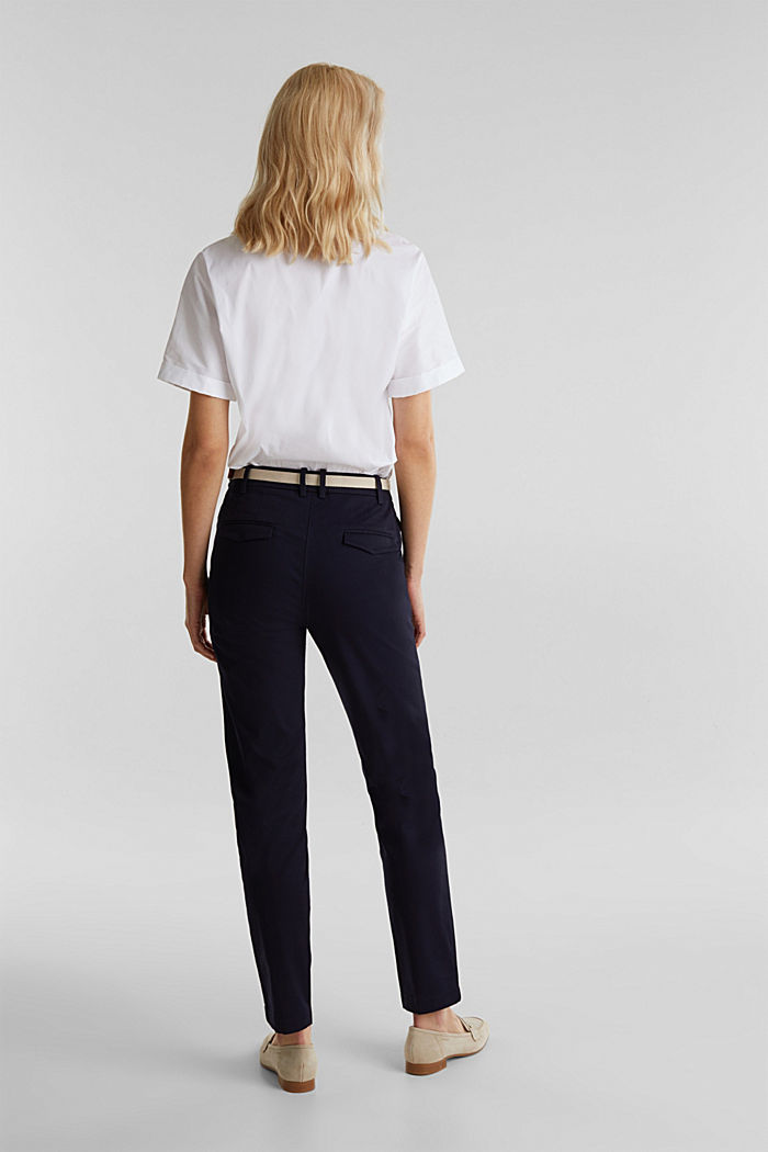 Business chinos with a belt, NAVY, detail image number 3