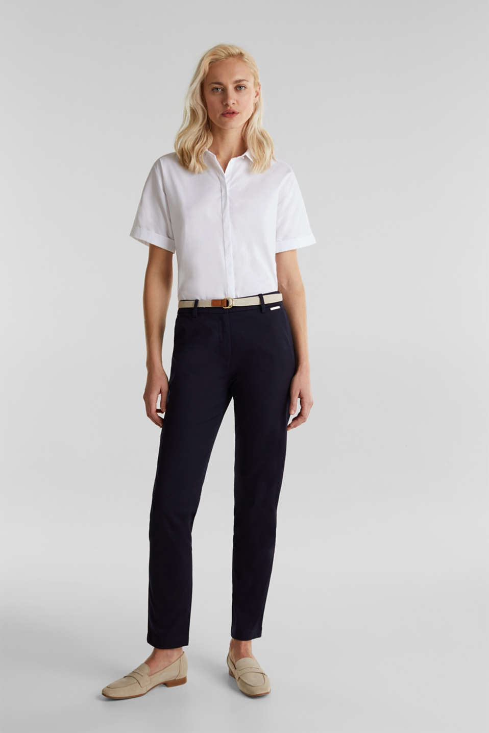 Business chinos with a belt, NAVY, detail image number 6