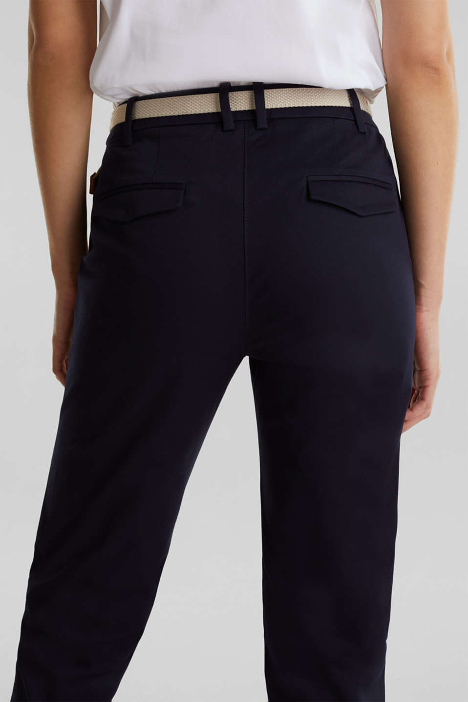 Business chinos with a belt, NAVY, detail image number 5
