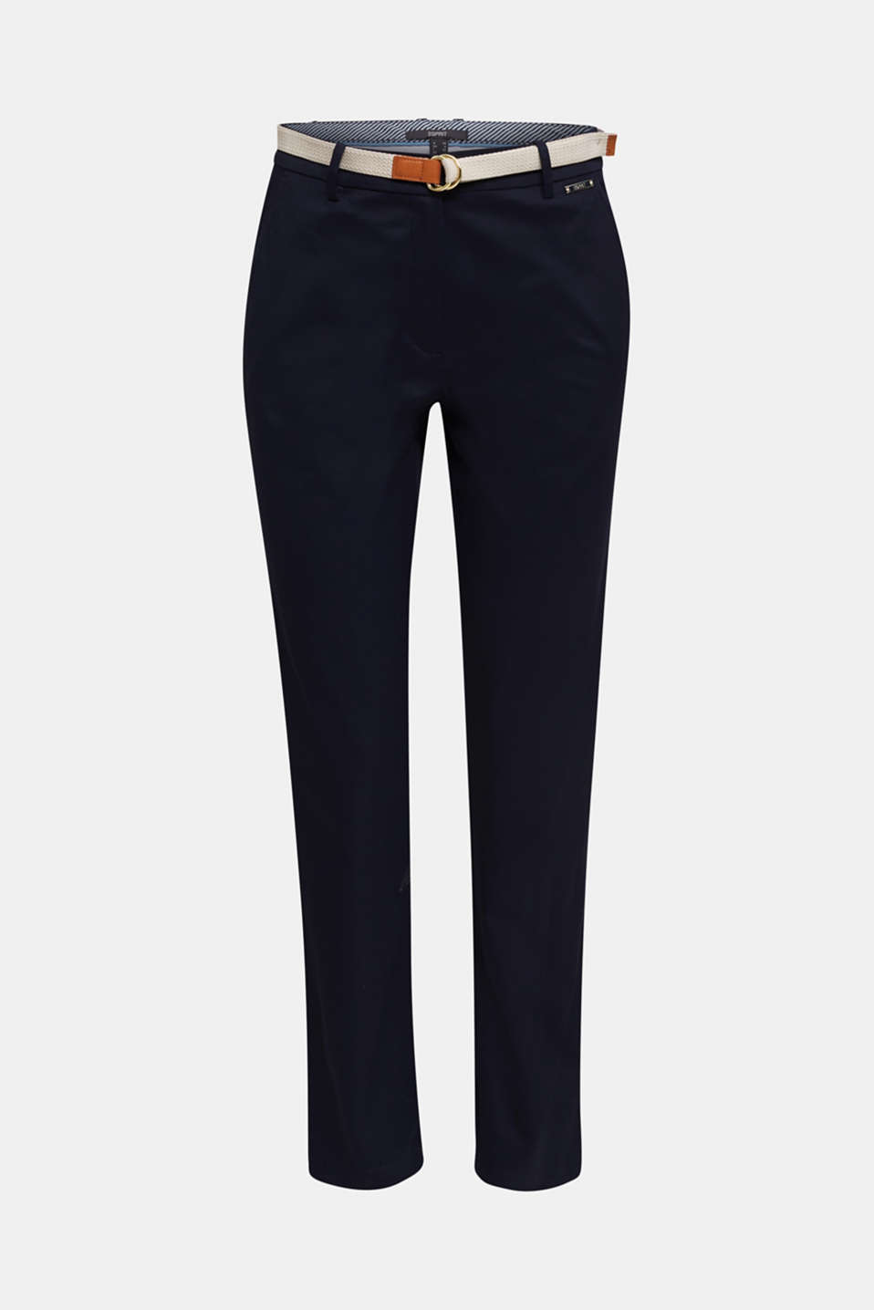 Business chinos with a belt, NAVY, detail image number 7
