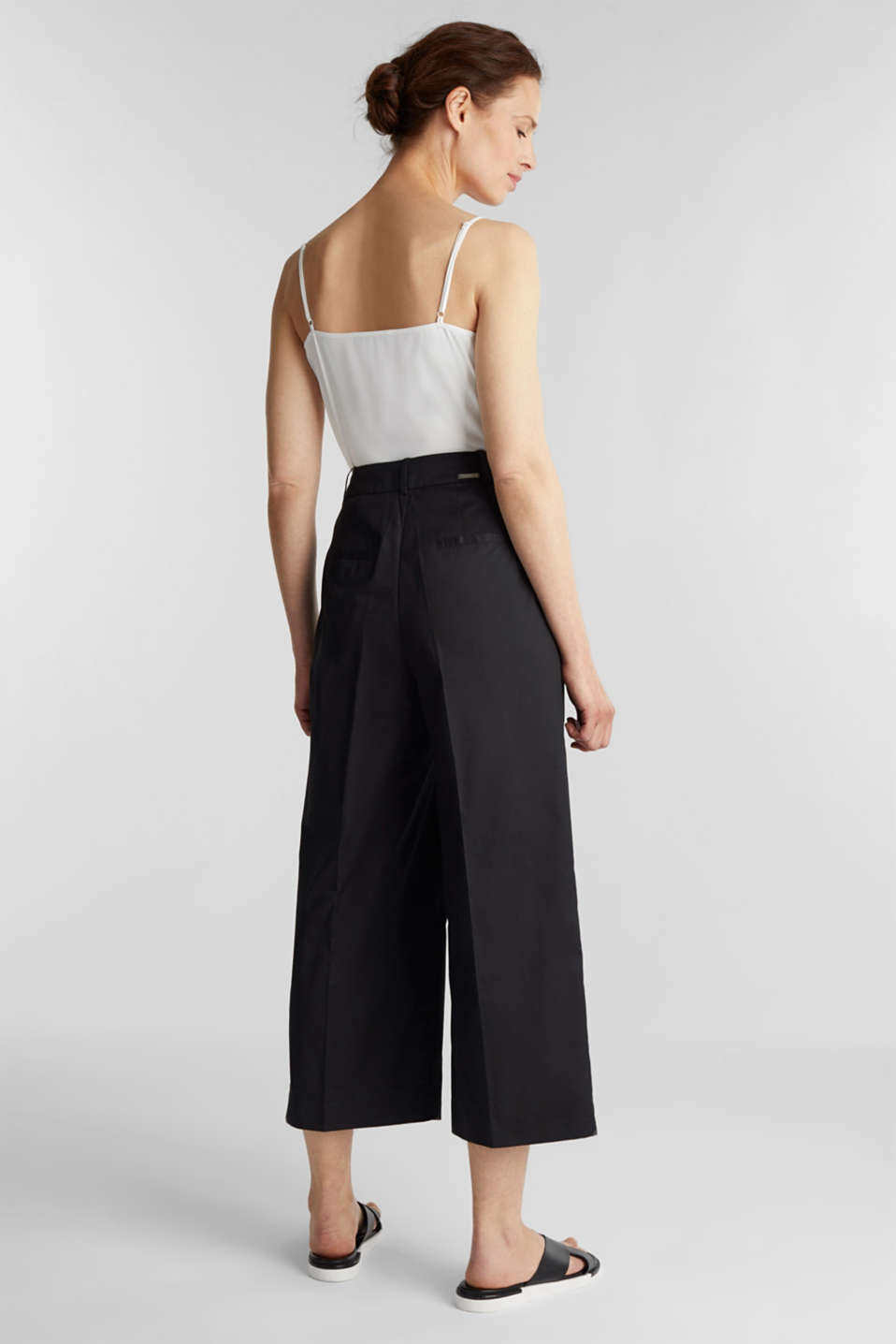 Culottes with a fine sheen, BLACK, detail image number 3