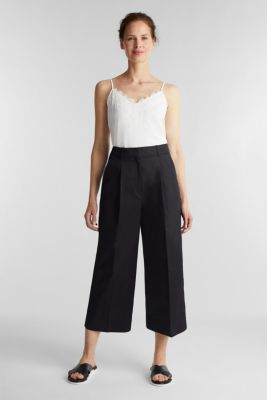 Culottes with a fine sheen, BLACK, detail