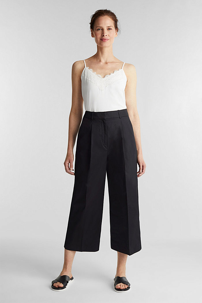 Culottes with a fine sheen, BLACK, detail image number 1