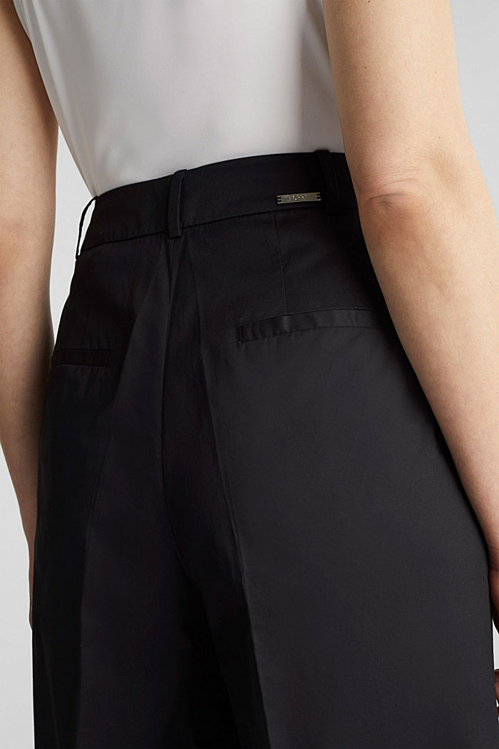 Culottes with a fine sheen, BLACK, detail image number 2