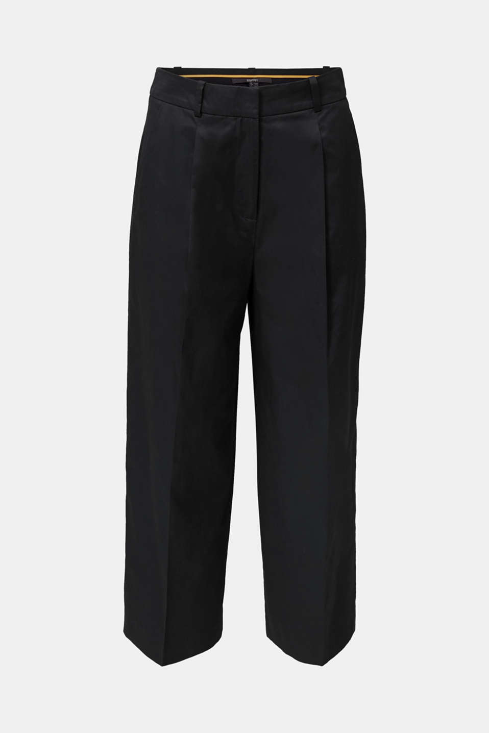 Culottes with a fine sheen, BLACK, detail image number 5