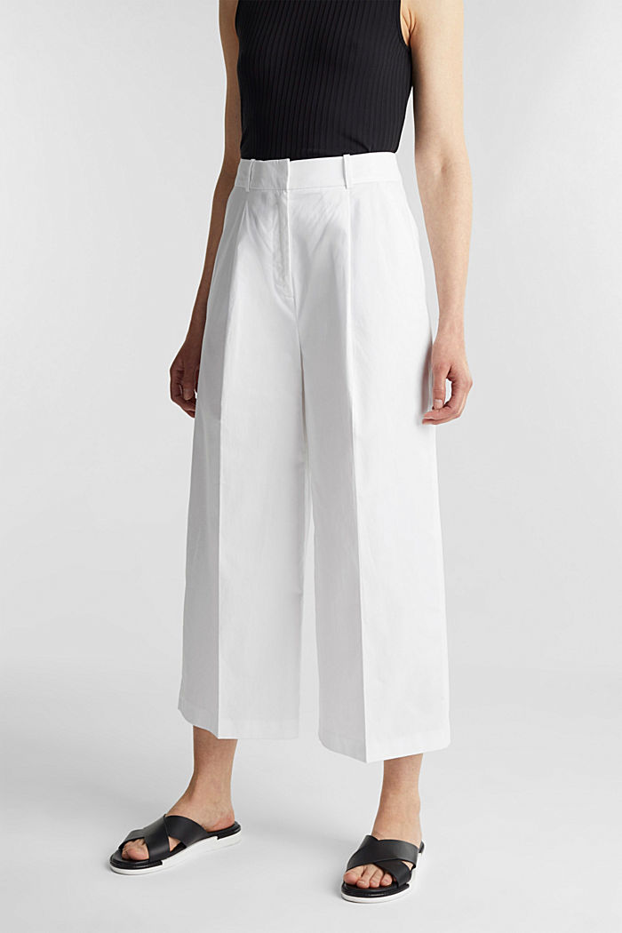 Culottes with a fine sheen, WHITE, detail image number 0