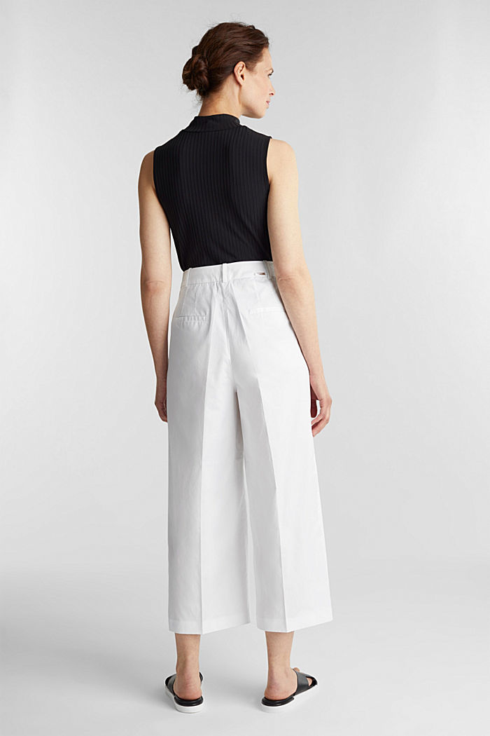Culottes with a fine sheen, WHITE, detail image number 3