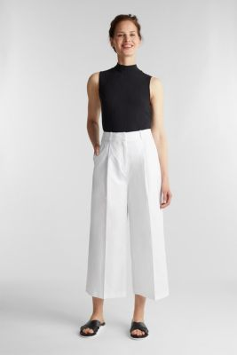 Culottes with a fine sheen, WHITE, detail