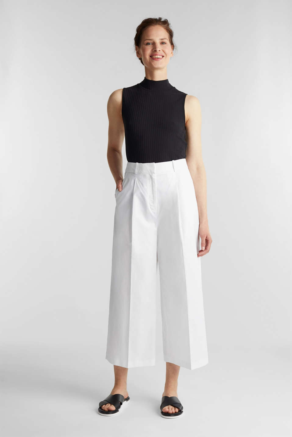 Culottes with a fine sheen, WHITE, detail image number 1