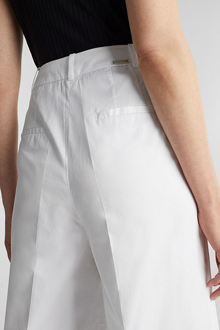 Culottes with a fine sheen, WHITE, detail image number 2