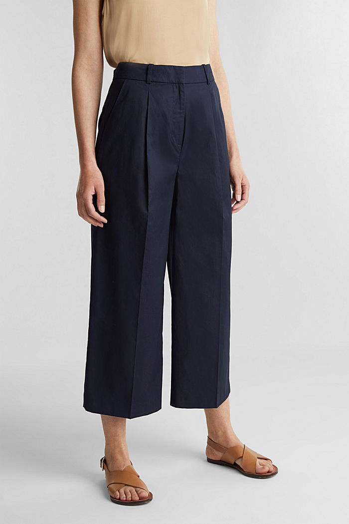 Culottes with a fine sheen, NAVY, detail image number 0