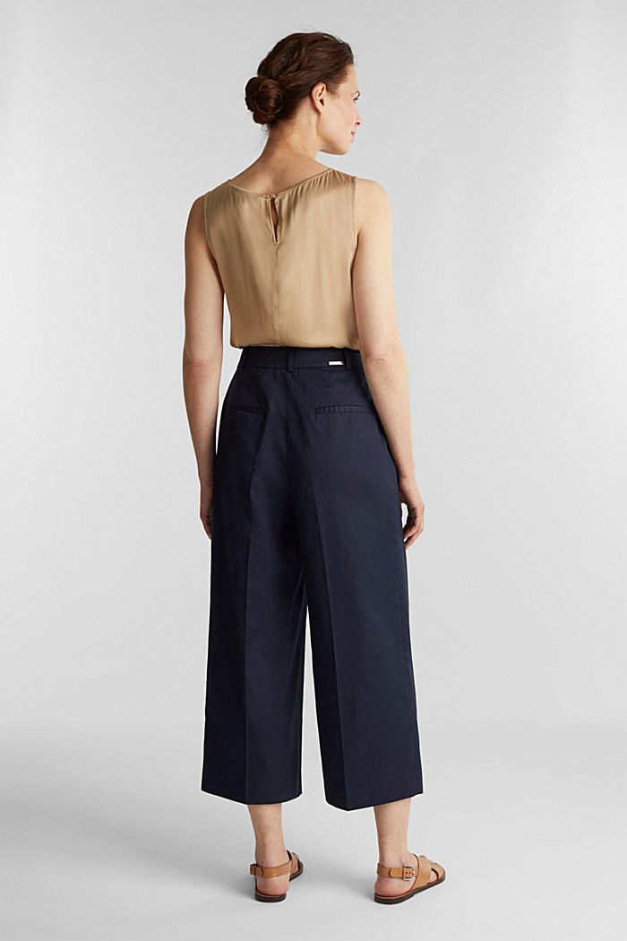 Culottes with a fine sheen, NAVY, detail image number 3