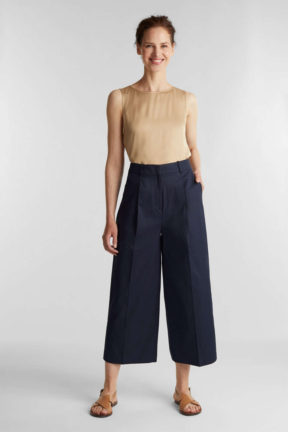 Culottes with a fine sheen, NAVY, detail image number 1