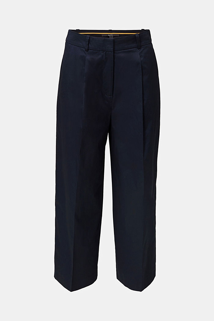 Culottes with a fine sheen, NAVY, overview