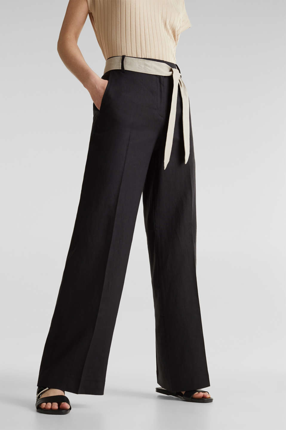 100% linen: wide trousers with a belt, BLACK, detail image number 0