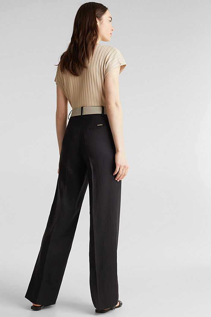 100% linen: wide trousers with a belt, BLACK, detail image number 3