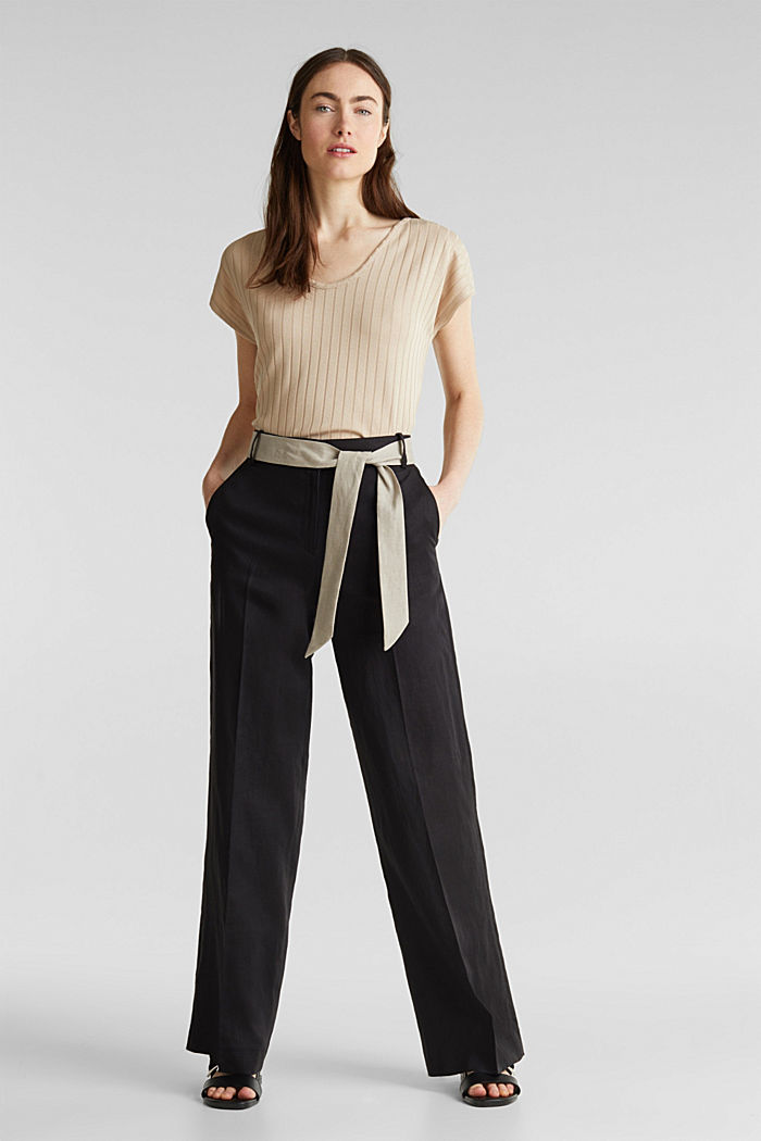 100% linen: wide trousers with a belt, BLACK, detail image number 1
