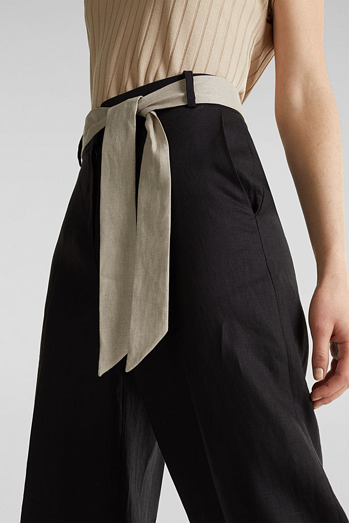 100% linen: wide trousers with a belt, BLACK, detail image number 2