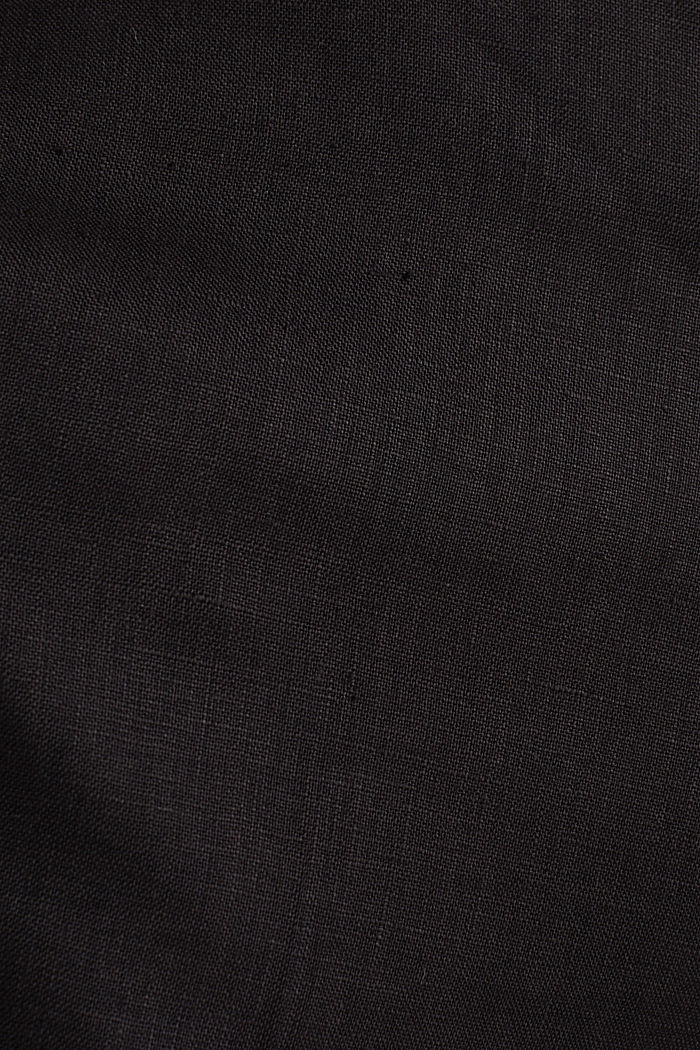 100% linen: wide trousers with a belt, BLACK, detail image number 4