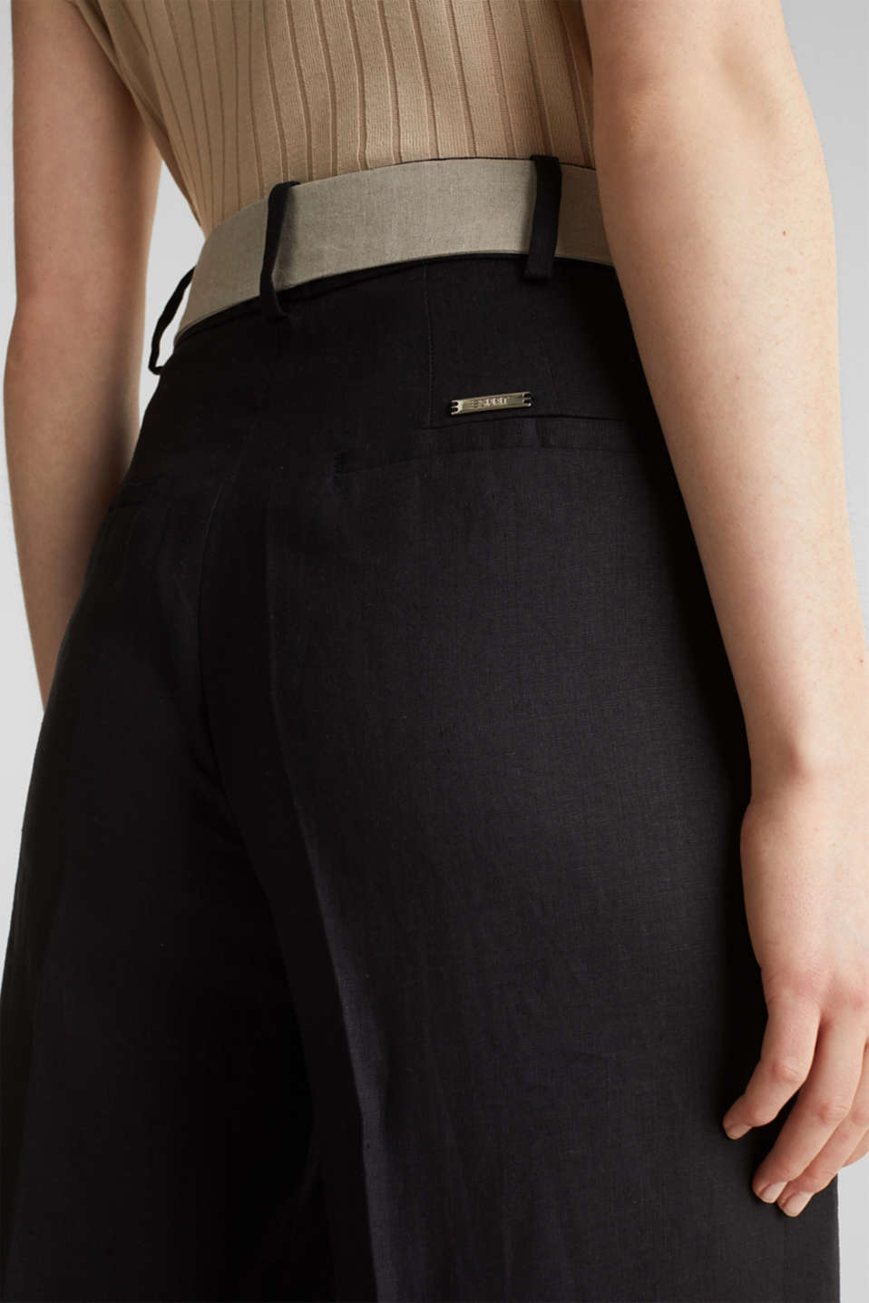 100% linen: wide trousers with a belt, BLACK, detail image number 5