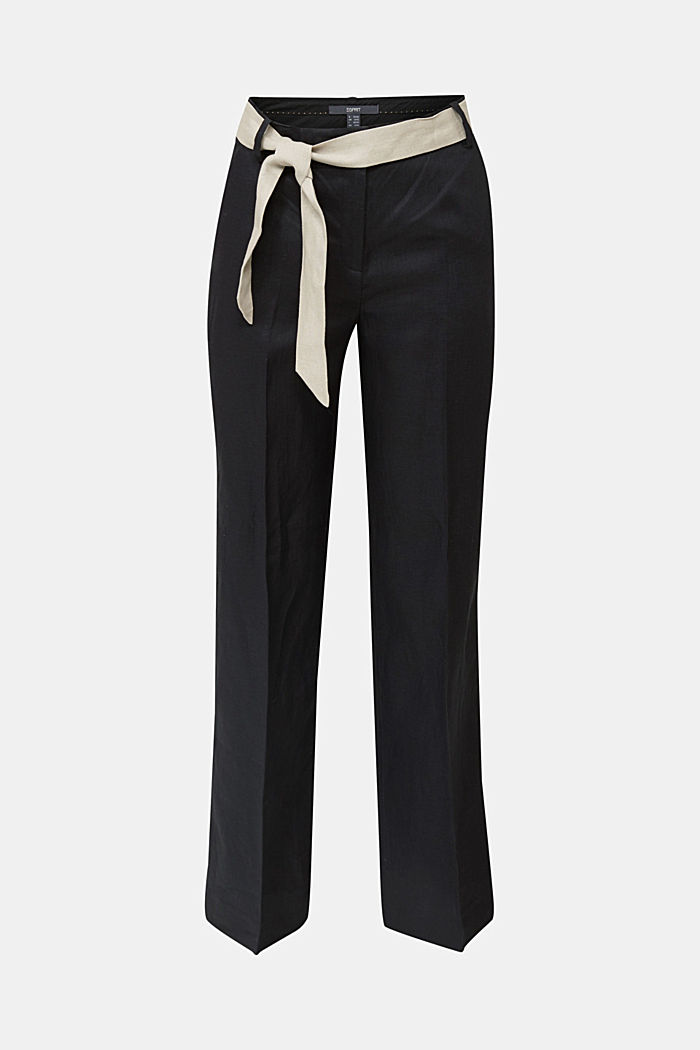 100% linen: wide trousers with a belt